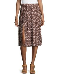 Michael Kors Floral-print Georgette Pleated Skirt - Lyst