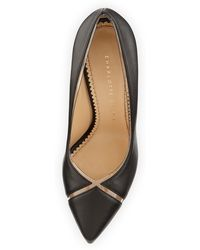 Charlotte Olympia Natalie Leather/Pvc Point-Toe Pump - Lyst
