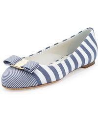 Ferragamo Varina Striped Fabric Ballerina Flat - Lyst