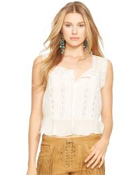 Polo Ralph Lauren Pintucked Lace Top - Lyst
