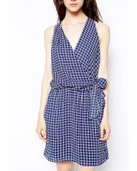 Greylin Draped Wrap Dress in Check Print - Lyst
