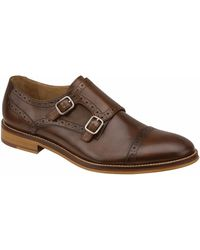 Johnston & Murphy Conard Leather Double Monk Strap Loafers - Lyst