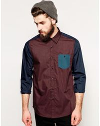 Asos Poplin Shirt in Long Sleeve with Mixed Panel - Lyst