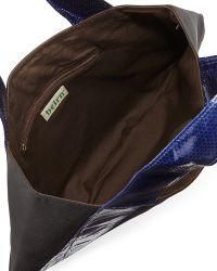 Beirn - Caroline Snakeskin Contrast Shoulder Bag Blackcobalt - Lyst