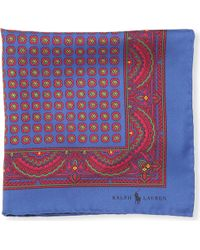 Ralph Lauren Printed Pocket Square Navy - Lyst