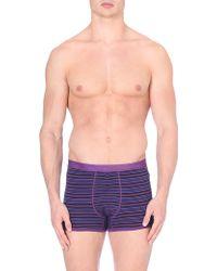 Calvin Klein Cotton Striped Trunks Dark Purple - Lyst