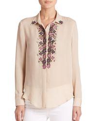 Haute Hippie | Embellished Silk Button-front Shirt | Lyst