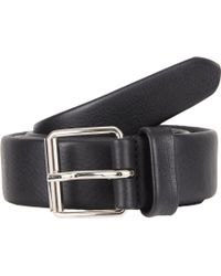 Barneys New York Crisscross Stitched Leather Belt - Lyst