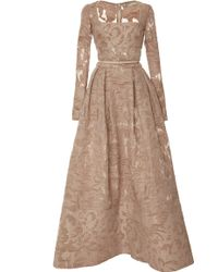 Elie Saab Brocade and Organza Fil Coupe Gown - Lyst