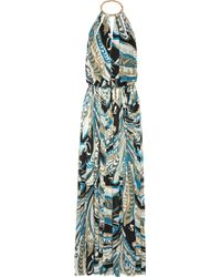 Emilio Pucci Backless Printed Crepe Gown - Lyst