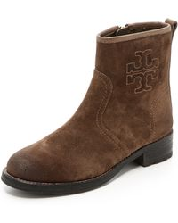 Tory Burch Simone Flat Booties  Weathered Brown - Lyst