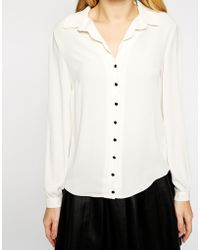 Oasis Scallop Placket Shirt - Lyst