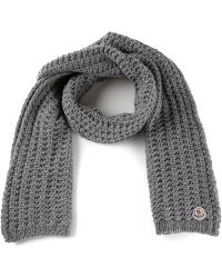 Moncler Gray Knit Scarf - Lyst