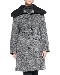 Sofia Cashmere Knit-Trim Cowl-Collar Princess Coat gray - Lyst