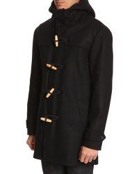 Menlook Label Navy Wool Duffle Coat - Lyst