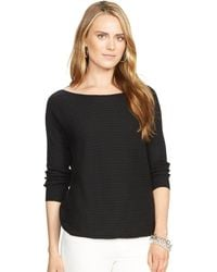 Ralph Lauren Cable-Knit Boatneck Sweater - Lyst