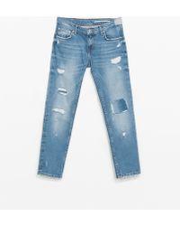 Zara Ripped Jeans - Lyst
