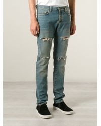 Saint Laurent Blue Distressed Jeans - Lyst
