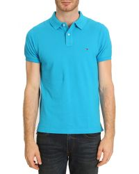 Tommy Hilfiger Turquoise Slimfit Polo - Lyst