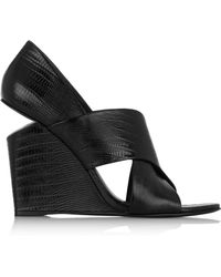 Alexander Wang Ida Lizard-Effect Patent-Leather Wedge Sandals - Lyst