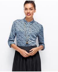 Ann Taylor Bird Print Camp Shirt - Lyst