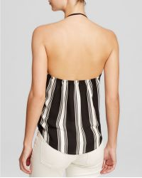 Olivaceous - Sleeveless Stripe Crossover Halter Top - Lyst
