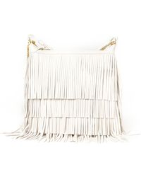 ysl monogramme tote - emmanuelle small leather fringe hobo bag, white