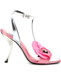 Roger Vivier Virgule Fleur Leather and Satin Sandals - Lyst
