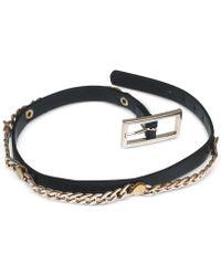 Guess - Gold-Tone Black Faux Leather Chain Wrap Bracelet - Lyst