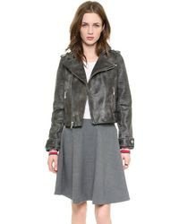 Marc By Marc Jacobs Biker Leather Jacket  Black - Lyst