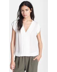 Joie 'Marcher' Pleated Silk Top - Lyst