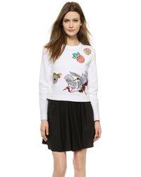 Carven Long Sleeve Sweatshirt - White - Lyst
