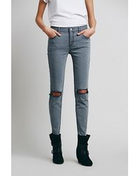 Free People Blue Destroyed Skinny - Lyst