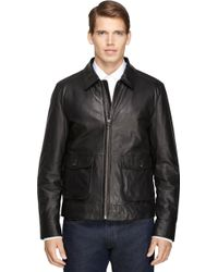 Brooks Brothers Leather Bomber - Lyst