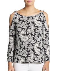 French Connection Paisley Cold-Shoulder Top - Lyst
