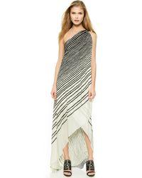 Halston Heritage One Shoulder Printed Drape Gown - Black/Bone Glowing Stripe - Lyst