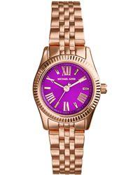 Michael Kors Women'S Mini Lexington Rose Gold-Tone Stainless Steel Bracelet Watch 26Mm Mk3273 - Lyst