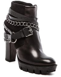 Love Moschino - Chained Leather Moto Boots - Lyst