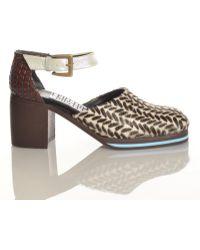 Kult Domini Kd X Leutton Postle Stacked Wooden Heel & Ponyskin Sandal By - Lyst
