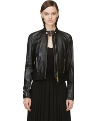 Versus  Black Leather Safety Pin Jacket - Lyst