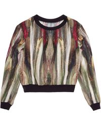 Nicole Miller Mirrored Feather Top - Lyst