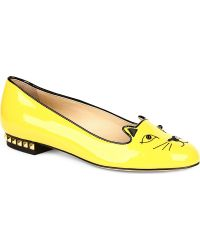 Charlotte Olympia Kitty Studded Patent Slippers - Lyst