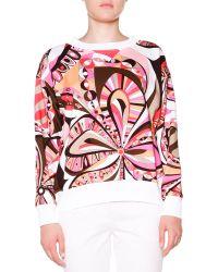Emilio Pucci Floral-print Sweatshirt W Ribbed Trim - Lyst