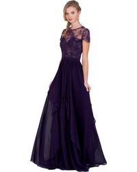 Badgley Mischka Lace T-Shirt Top Evening Gown - Lyst