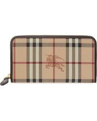 Burberry Haymarket Zippy Zip Around Wallet Brown - Lyst