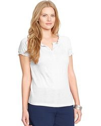 Lauren by Ralph Lauren Plus Smocked Cotton Shirt - Lyst