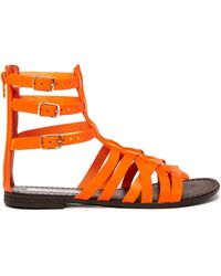 Steve Madden Plato Multi Strap Orange Gladiator Flat Sandals - Lyst