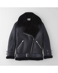 Acne Studios Velocite Shearling Lined Moto Jacket - Lyst