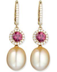 Eli Jewels - Dangling South Sea Pearl & Rubellite Earrings - Lyst