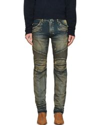 Balmain Blue Distressed Washed Biker Jeans - Lyst